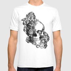 Butterfly rose skull with ladybugs. Good luck MEDIUM White Mens Fitted Tee