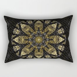 Boho chic Gold Lace Black  Flower Mandala Rectangular Pillow