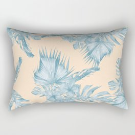 Tropical Flowers and Leaves Blue on Peach Coral Rectangular Pillow