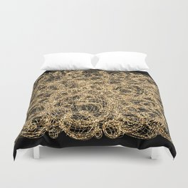 Gold Thread on Black | Abstract Brain Map 3 Duvet Cover
