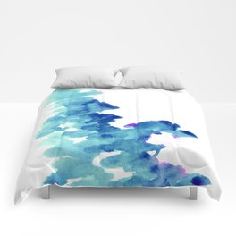 Blue, turquoise water cloud. Colorful watercolor painting Comforters