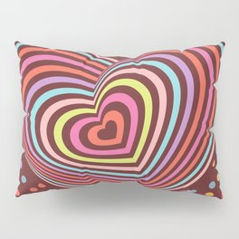 multi-colored rainbow heart on dark brown background. 3D Pillow Sham