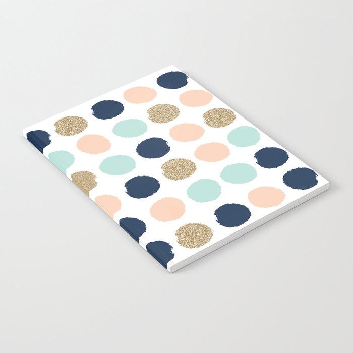 Wren - Pastel Brush Stroke Minimal Dots with glitter  Notebook