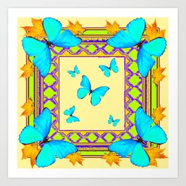 Decorative Cream & Turquoise Butterfly Art Art Print