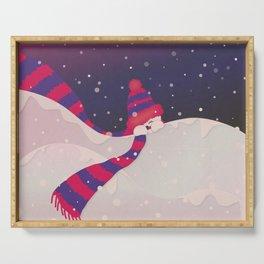 Christmas Peekaboo Snowman II - Blue Violet Snowy Background Serving Tray