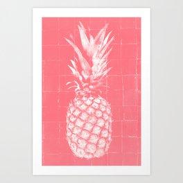 Hot pink pineapple Art Print
