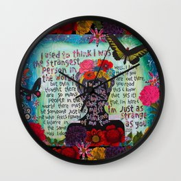 Just Like Me Frida Kahlo Quote Wall Clock