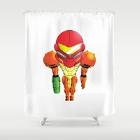 samus Shower Curtains featuring Samus Halftone by Thomas Soto