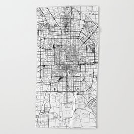 Beijing White Map Beach Towel
