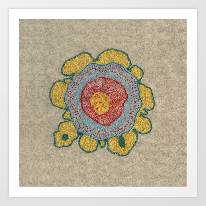 Growing Pinus 1 Plant Cell Embroidery Art Print By Vrijformaat