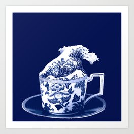 TEMPEST IN A TEACUP, HOKUSAI STYLE Art Print