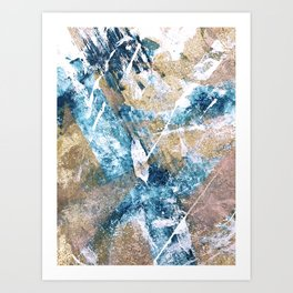 Anticipation [1]: a bright, colorful abstract piece in pink, rose gold, blue, and white Art Print