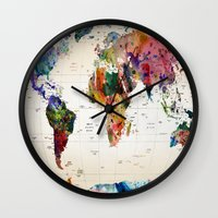 hello Wall Clocks featuring map by mark ashkenazi