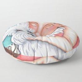 Sweet Coconut Original Art Schnauzer and girl Portrait Floor Pillow