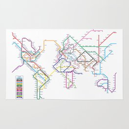 World Metro Subway Map Rug