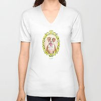 pit bull V-neck T-shirts featuring Remy the Pit Bull by Alina Bachmann