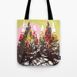 """Trees, Mountains, Flowers, Sun Vector Illustration"" Tote Bag"