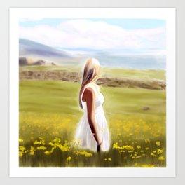 Girl in fields (digital painting) Art Print