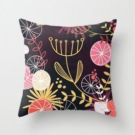 Dark stylish Flowers / Folk art Throw Pillow