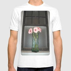 pink daisies ~ flowers on vintage sill Mens Fitted Tee SMALL White