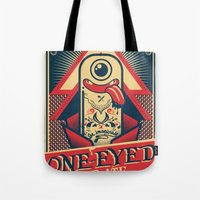 cartoon Tote Bags featuring One-eyed Pirate by Victor Beuren