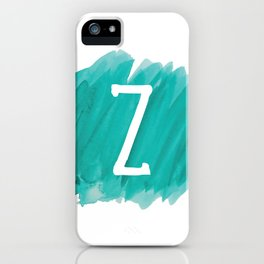 Letter Z Teal Watercolor iPhone Case