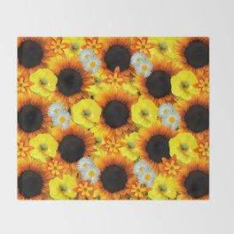 Sunflowers - Shades of yellow Throw Blanket