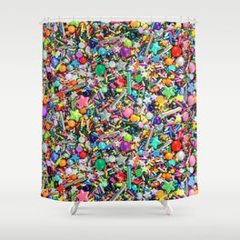 Rainbow Sprinkles - cupcake toppings galore Shower Curtain