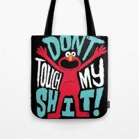 elmo Tote Bags featuring Crazy Elmo by Chris Piascik