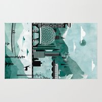 travel poster Area & Throw Rugs featuring Vancouver Travel Poster Illustration by ClaireIllustrations