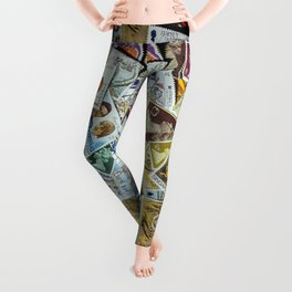 Postage Stamp Collection Leggings