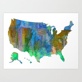 Usa Colorful Map Art Print