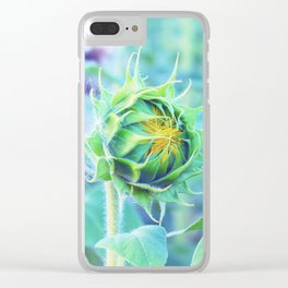 sunflower - turquoise Clear iPhone Case