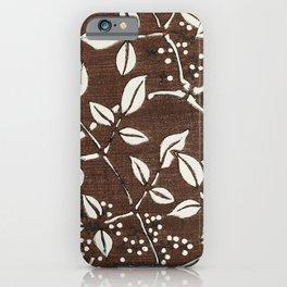 Brown Leaf Pattern iPhone Case