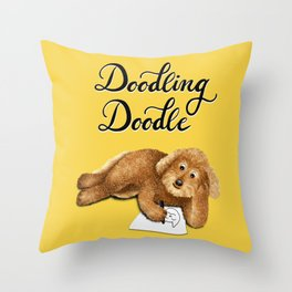Doodling Doodle (Yellow) Throw Pillow