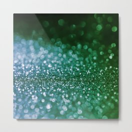 Aqua Glitter effect- Sparkling print in green and blue Metal Print