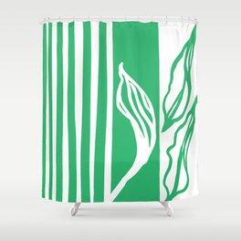 Long Leaf Stripe green Shower Curtain