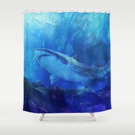 Make Way for the Great White Shark King  Shower Curtain