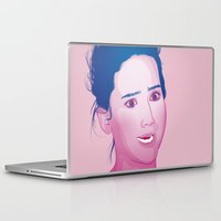jennifer lawrence Laptop & iPad Skins featuring Funny face: Jennifer Lawrence by Esther Cerga