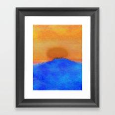 Blue landscape at sunset Framed Art Print