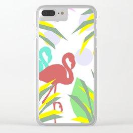 Flamingo jungle Clear iPhone Case
