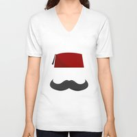 fez V-neck T-shirts featuring Man with a Fez by Emir Simsek