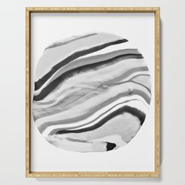 Shadow of Ourselves Marbling Marble Circle World Black and White Serving Tray