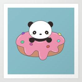 Kawaii Cute Panda Donut Art Print