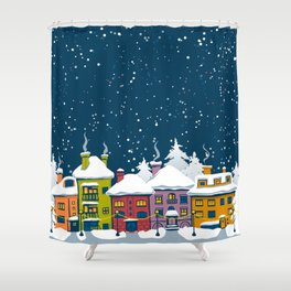 Winter town Shower Curtain