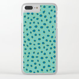 PolkaDots, Spots - Turquoise Teal Blue Clear iPhone Case