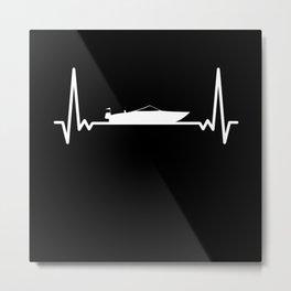 Motorboating Heartbeat - Motor Boat Love Metal Print