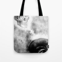 evil Tote Bags featuring Evil by shaunsheep