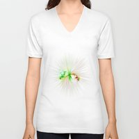splatter V-neck T-shirts featuring Plastic splatter by Charma Rose