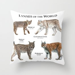 Lynxes of the World Throw Pillow